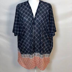 Torrid Blue & Red Kimono Sz 1